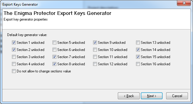 Export Key Generator - Sections