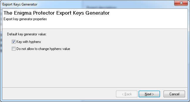 Export Key Generator - Hyphens